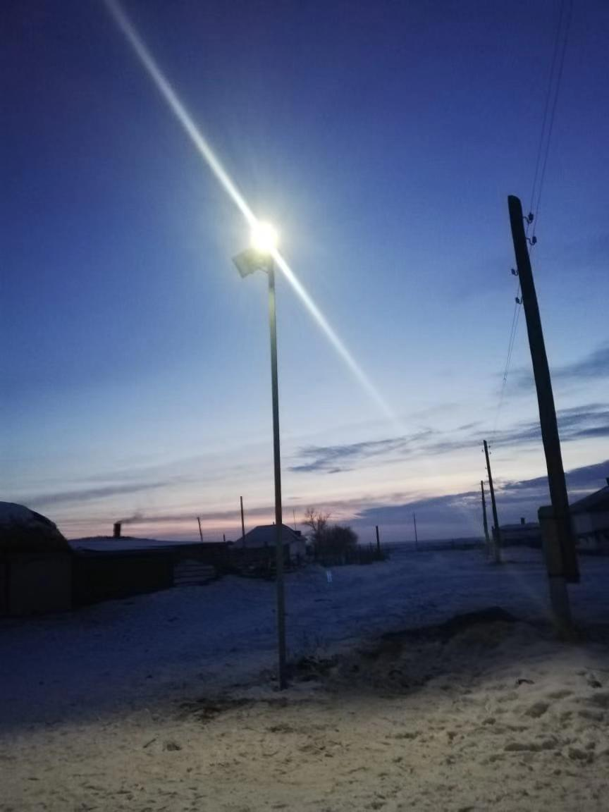 Solar street light working in Kazakhstan